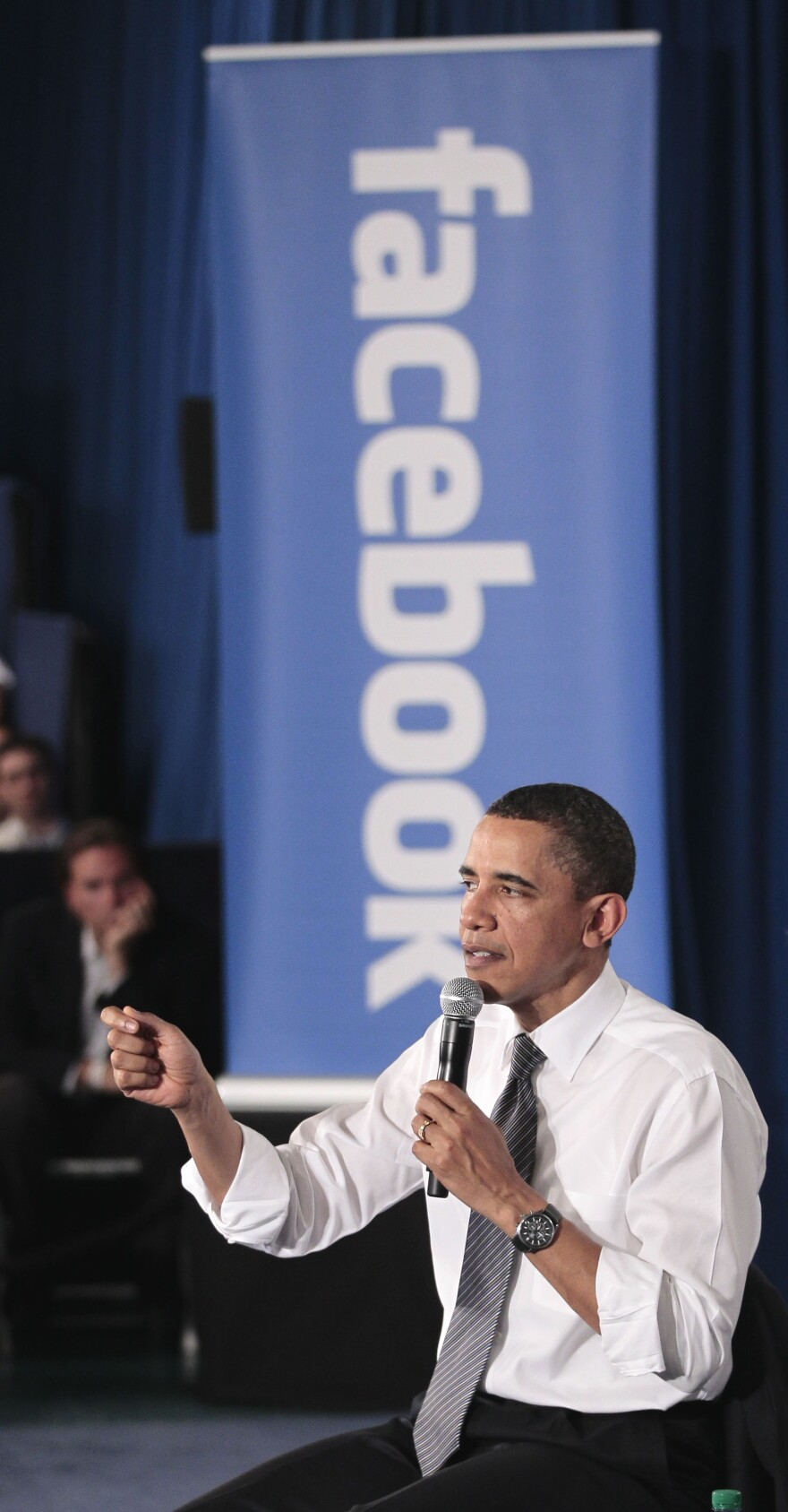President Obama holds an online meeting from Facebook headquarters in Palo Alto, Calif., April 20, 2011. One political science professor says Obama's digital campaigning skills could make a difference in November.