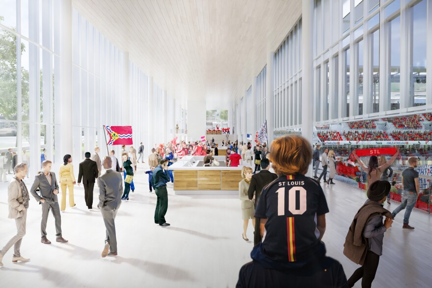 A rendering shows what the stadium's south bar is expected to look like on game day. 10/31/19