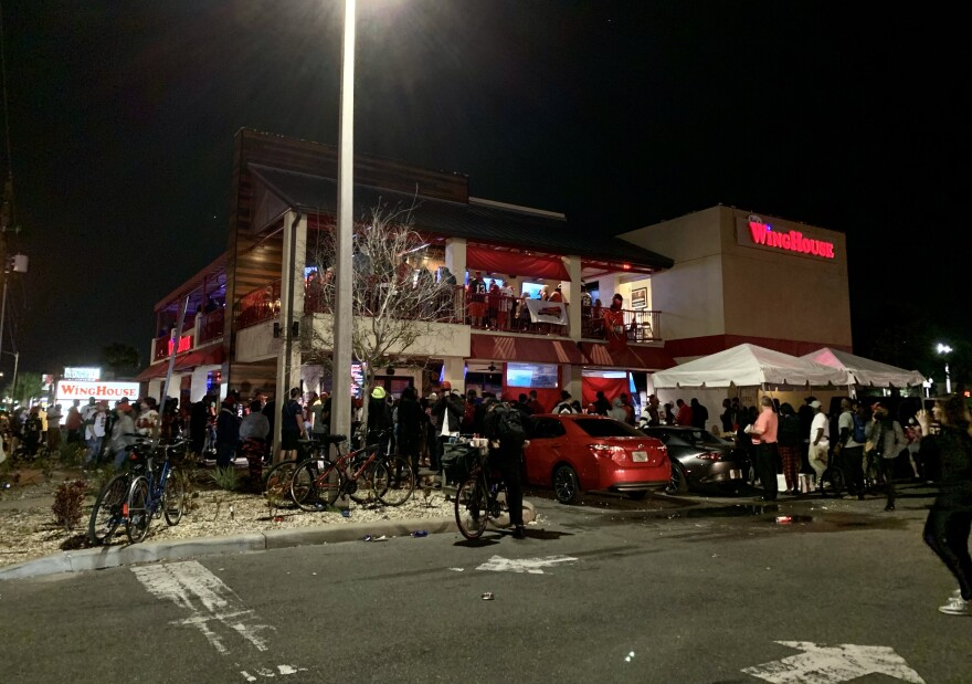 Crowd outside WingHouse