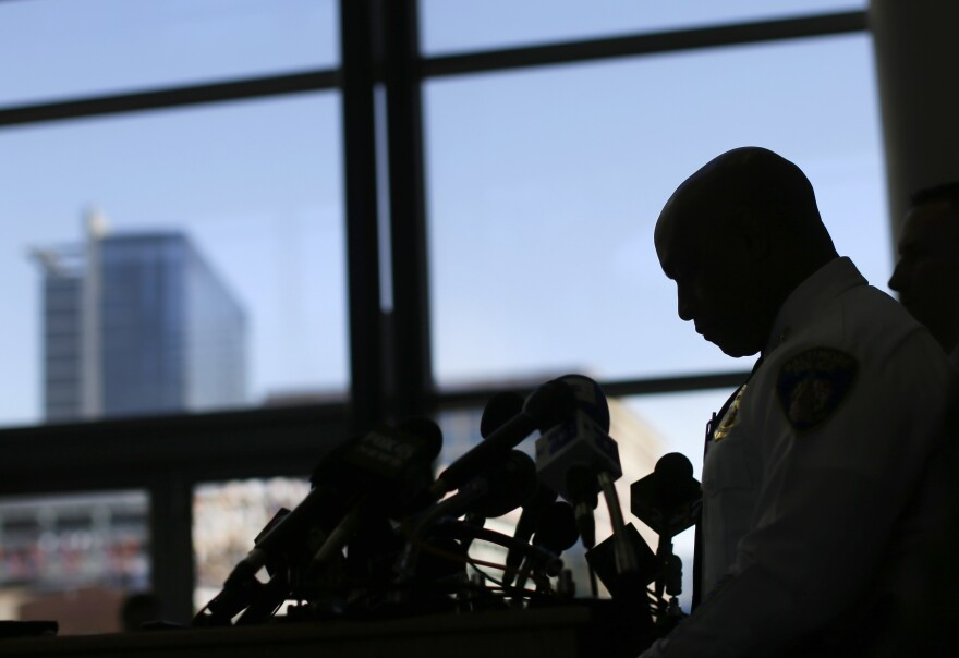 Baltimore Police Department Commissioner Anthony Batts speaks about the investigation into Freddie Gray's death at a news conference on Friday in Baltimore.