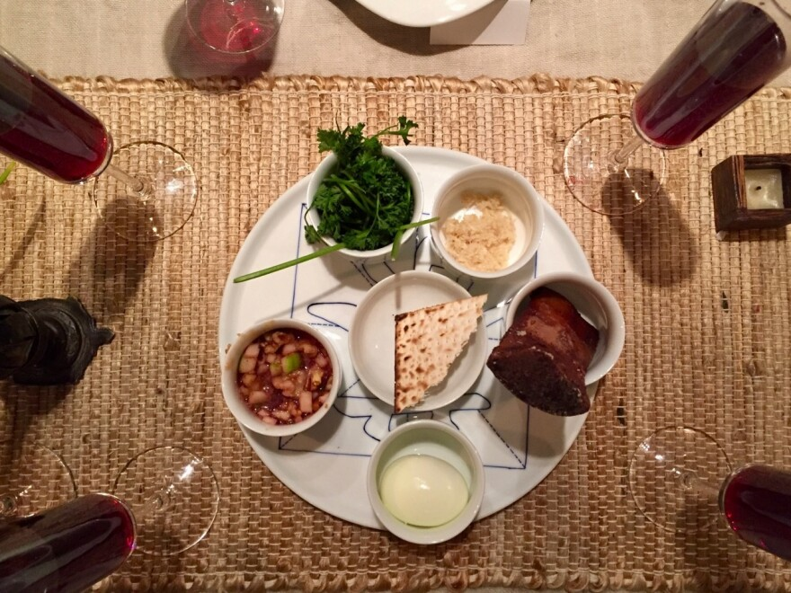 "A Seder plate at the ""Gentile Passover"" hosted by Tiffany Wang and her sister, Charlene Wang de Chen, last year."