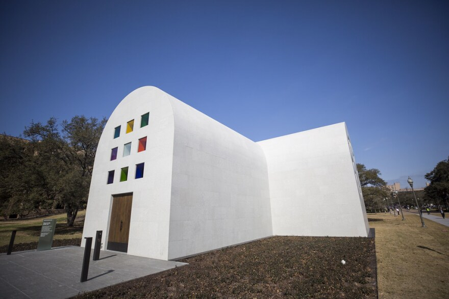 "Ellsworth Kelly's ""Austin,"" a stone building with colored glass windows"