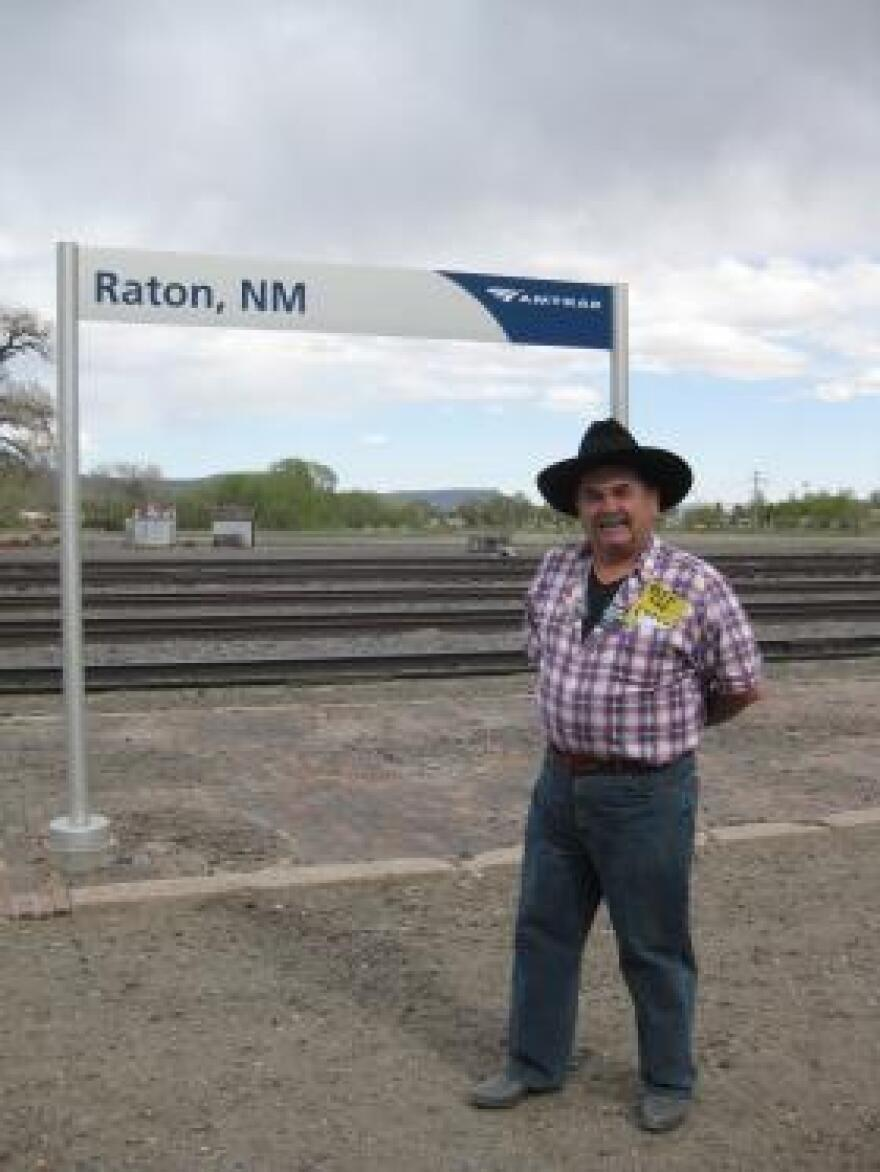Ernest Haecker lives part-time in Raton, NM and part-time in New York City, and travels the Southwest Chief between the two. Haecker came out to the Raton station for National Train Day.
