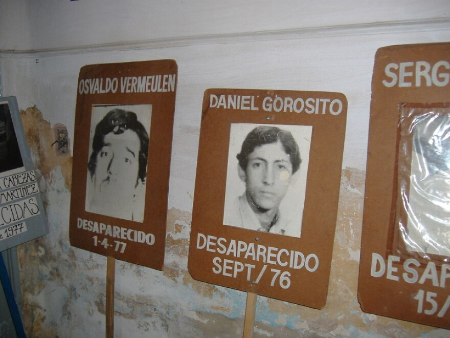 Pictures of desaparecidos (victims of forced disappearance) in a former illegal detention center in Rosario, Argentina. The photos were used to search for and denounce the disappearance of persons during the Dirty War.