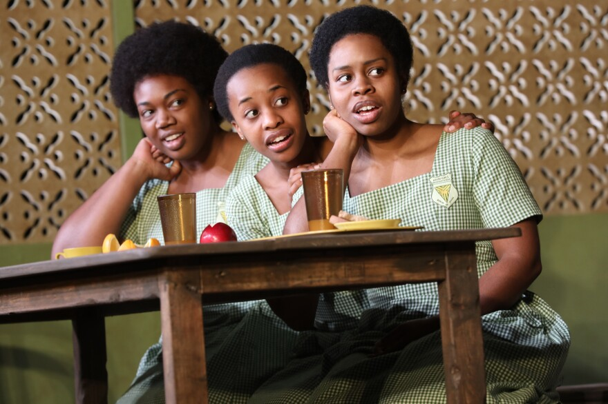 Nana, portrayed by Abena Mensah-Bonsu (left), is frequently picked on by the girls at her boarding school in Ghana, who harp on her weight.