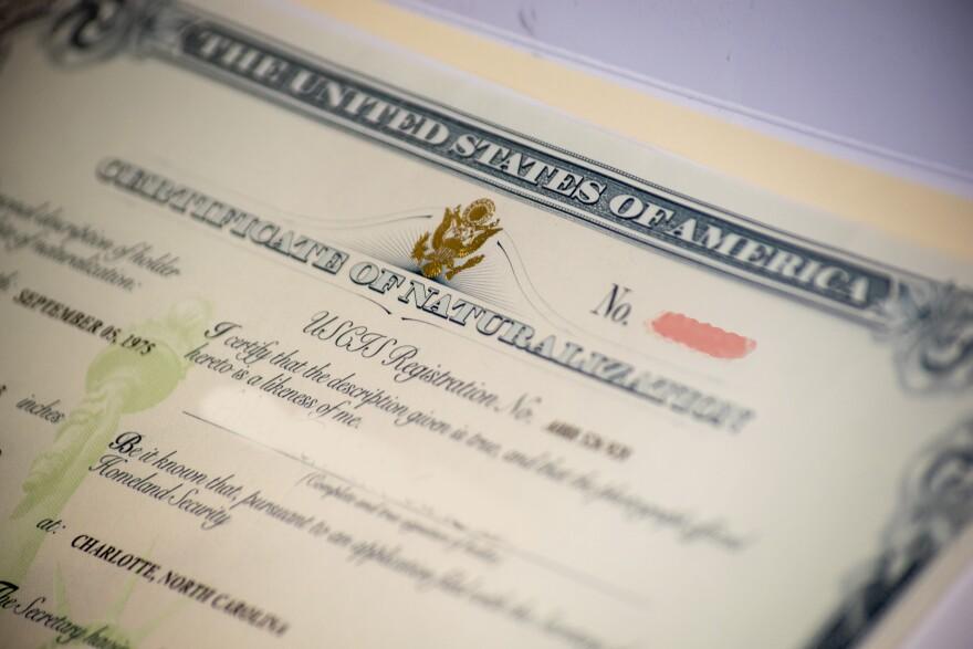 United States Naturalization Certificate