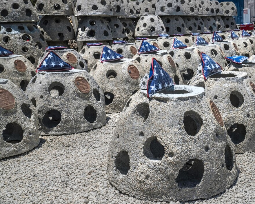 "67 of these ""reef balls"" now lie at the bottom of the Gulf of Mexico forming the ""On Eternal Patrol Memorial Reef."""