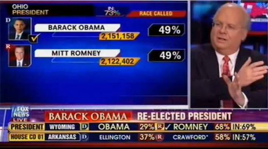 """When Fox News called Ohio for President Obama, analyst Karl Rove insisted that the decision was premature. <a href=""""http://www.huffingtonpost.com/2012/11/06/fox-news-argues-obama-ohio_n_2085817.html?utm_hp_ref=media"""">Click here to watch the conversation.</a>"""