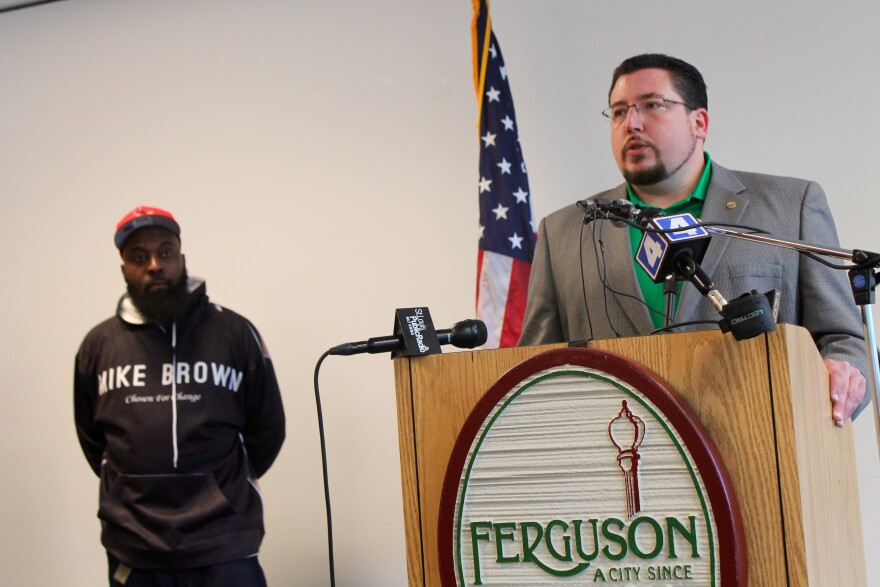 Ferguson Mayor James Knowles, right, says he doesn't expect Schmitt's bill to impact his city that much.