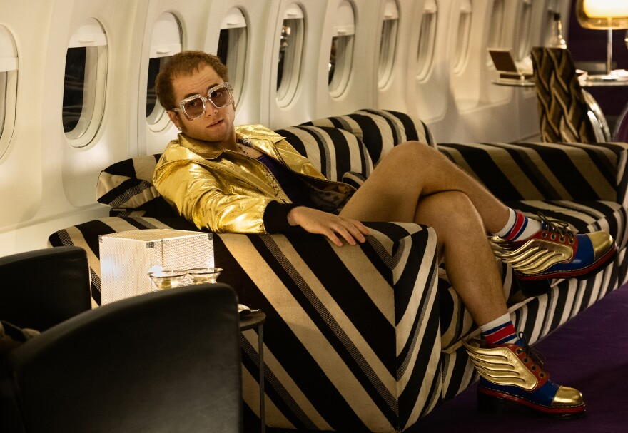 Taron Egerton as Elton John in <em>Rocketman</em>.