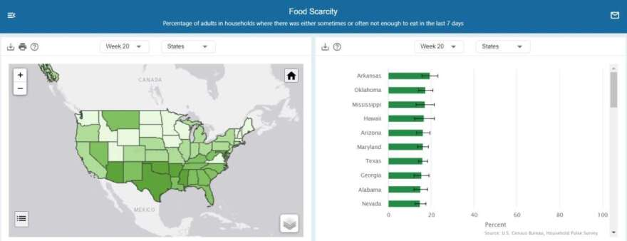 Map showing food scarcity for each state, according to the U.S. Census Bureau's Household Pulse Survey.