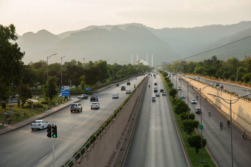 A view of a highway in Islamabad, Pakistan. The government announced a new electric vehicle policy this summer, and plans to get two-thirds of its electricity from wind, solar and hydropower by 2030.