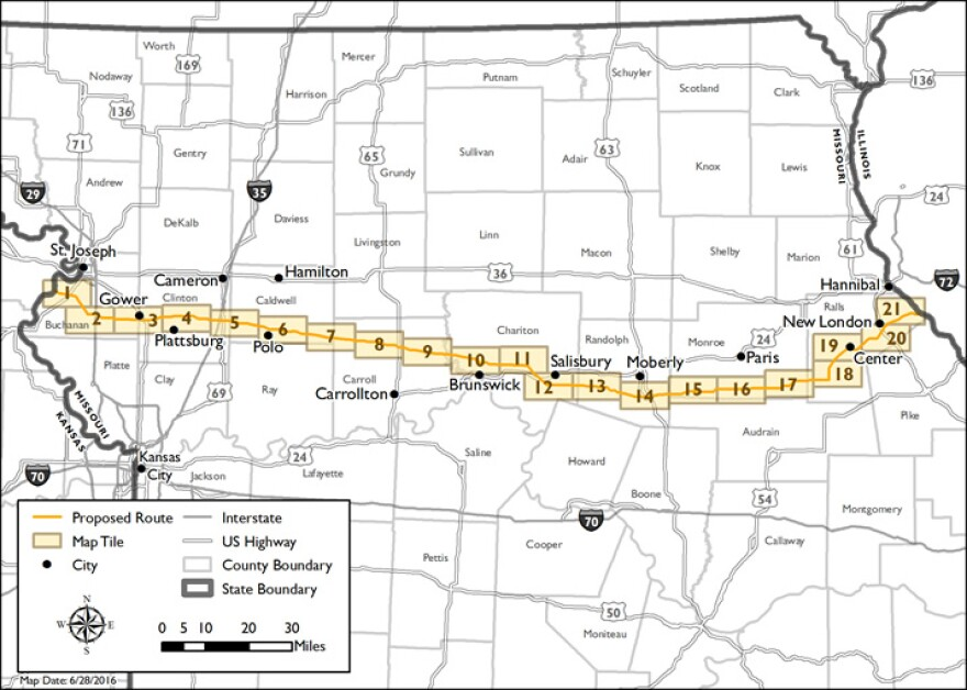 A map of the proposed Grain Belt Express Line that will transmit wind energy from western Kansas to parts of the Midwest and eastern U.S.