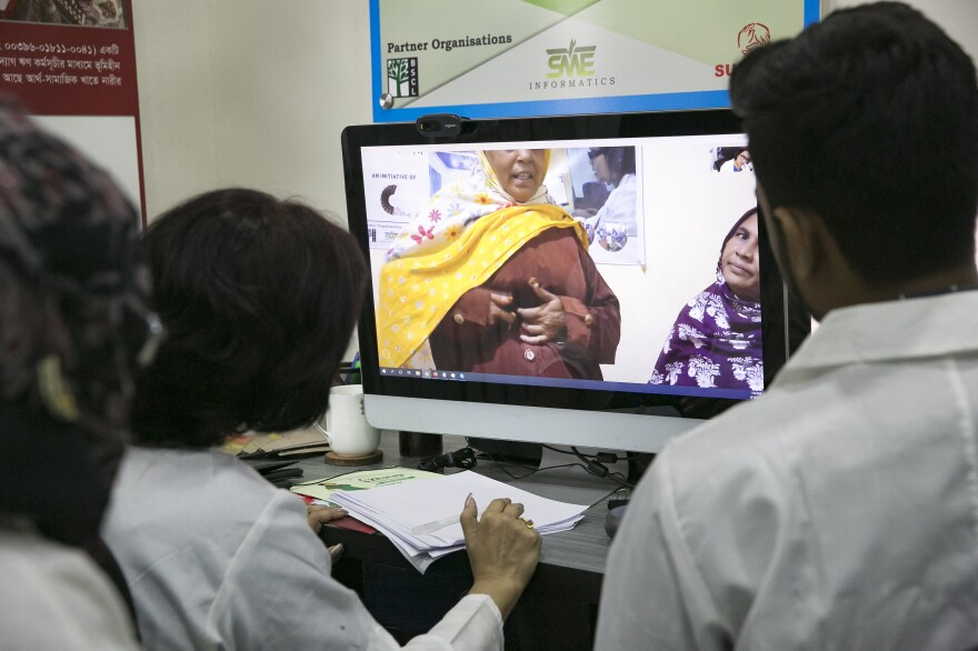 Dr. Tina Mustahid sees patients over video from her office in Dhaka, Bangladesh. She most often deals with gynecological and digestive issues, joint pain, skin diseases and fever.