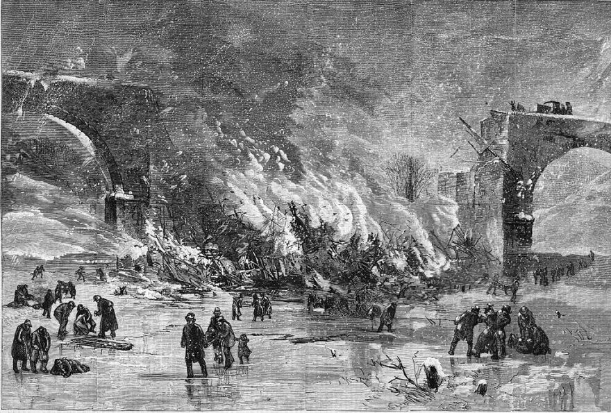 A wood engraving depicting the Ashtabula Bridge Disaster of 1876