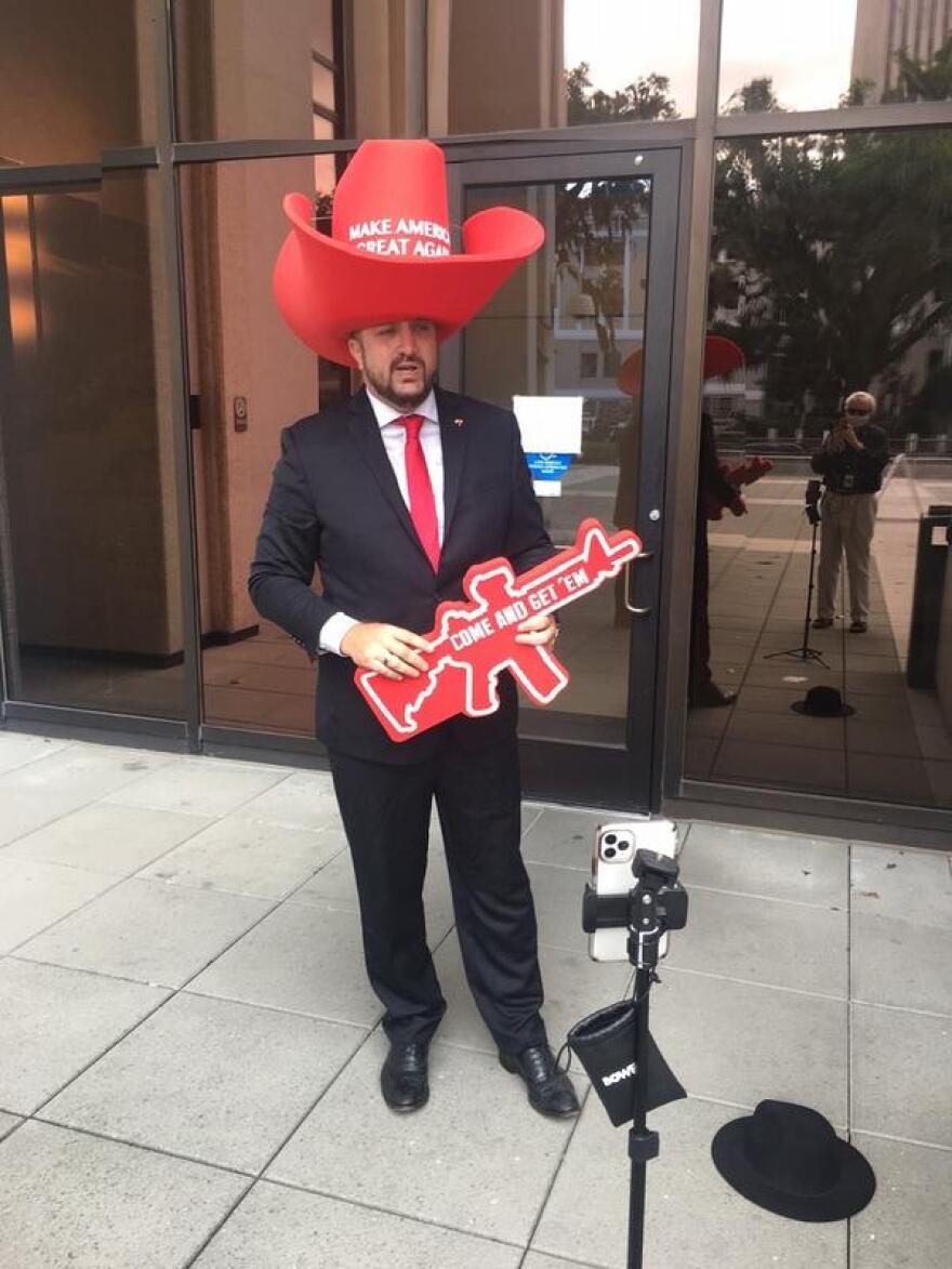 Benjamin Alexander Thaddeus John Horbowy wearing a MAGA cowboy hat
