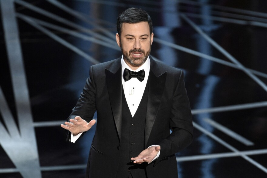 Host Jimmy Kimmel speaks at the Oscars on Sunday, Feb. 26, 2017. (Chris Pizzello/AP)