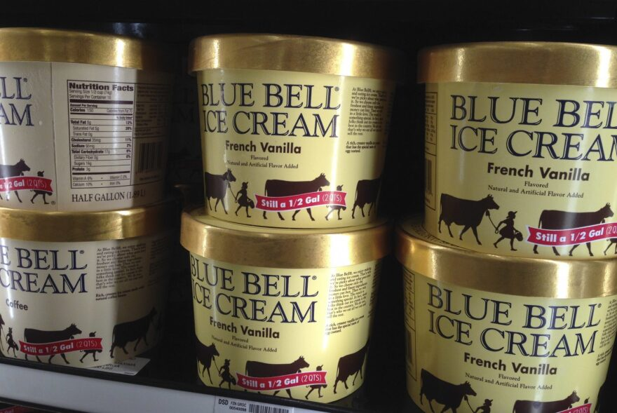 Blue Bell ice cream packages