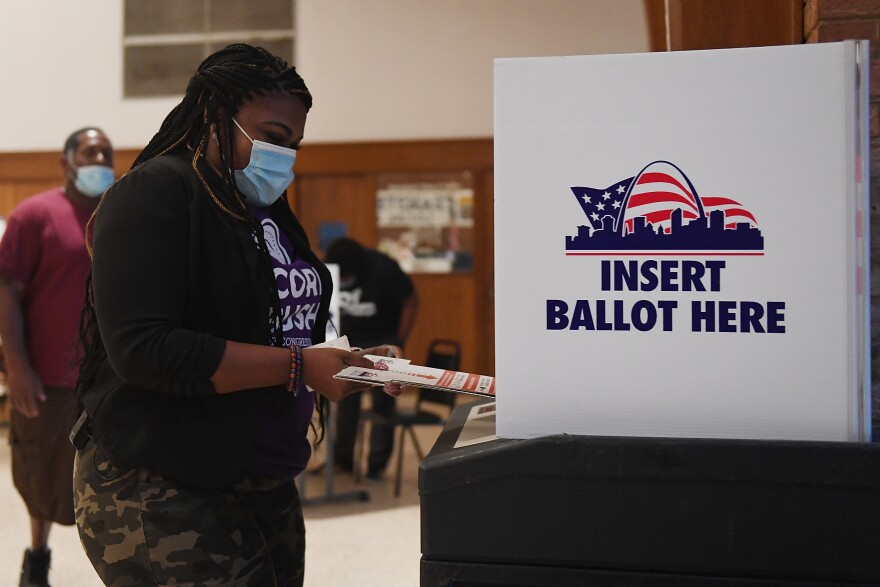 Missouri Democratic congressional candidate Cori Bush casts her ballot on August 4, 2020 at Gambrinus Hall in St Louis, Missouri. (Michael Thomas/Getty Images)