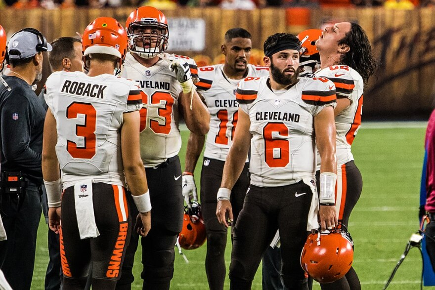 A photo of quarterback Baker Mayfield and Cleveland Browns