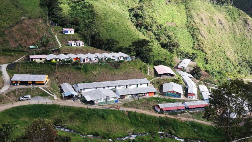An agricultural cooperative near the Andes town of Santa Lucía was set up by the Colombian government to help about 100 former rebels transition to civilian life.
