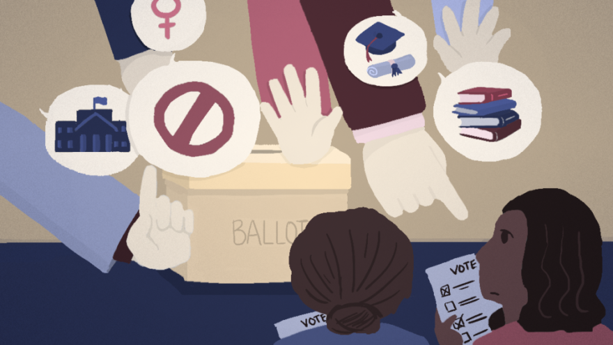Illustration of black women being prevented from voting