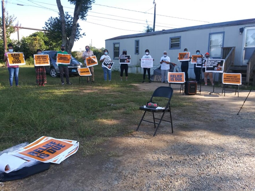 Tenant activists protested at Nichole Cureton's home