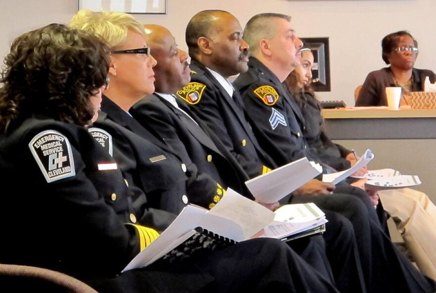 Officials with Cleveland's fire, EMS, and police departments at a recent city council meeting.