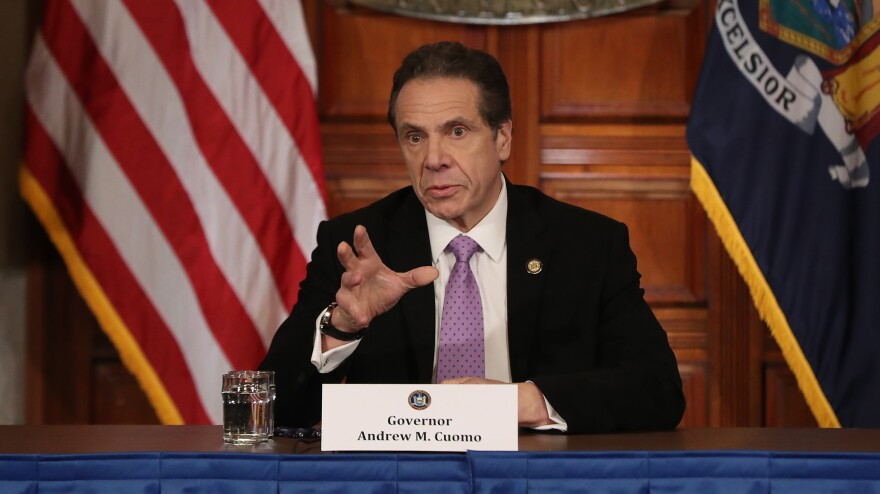 New York Gov. Andrew Cuomo speaks during his daily news conference Friday. He's gained accolades from some critics for his response to the coronavirus crisis.