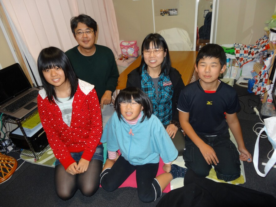 The Togawa family in their temporary home near Kawamata, Japan. From left: Rina, Kenichi, Kae, Yuka and Shoichiro.