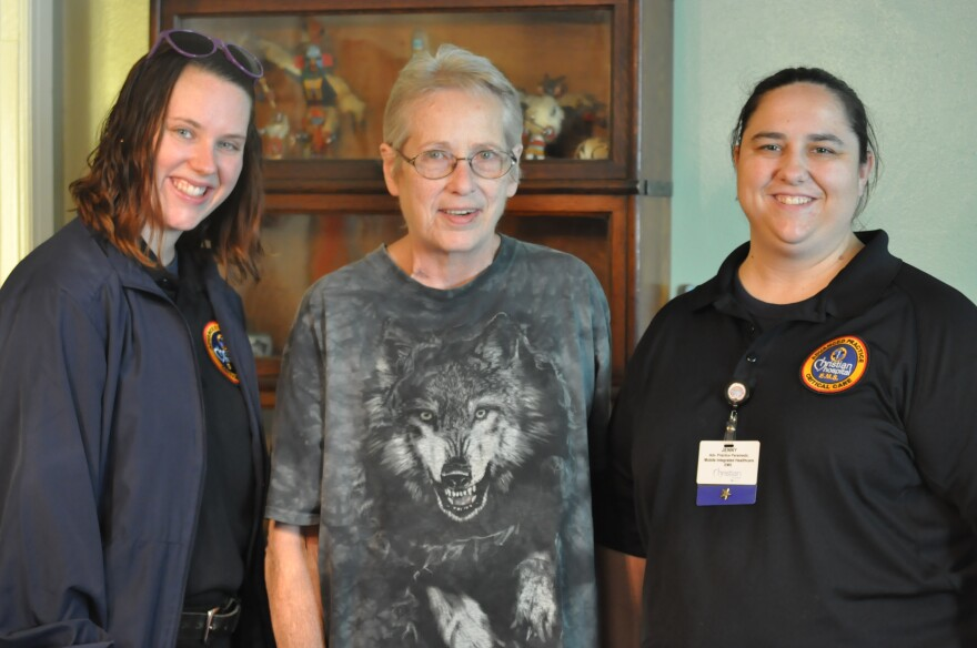 Two paramedics visited Parks to congratulate her on the last day of her program. From left to right, Katie Eisenbeis, Parks, and Jenny Rieker.
