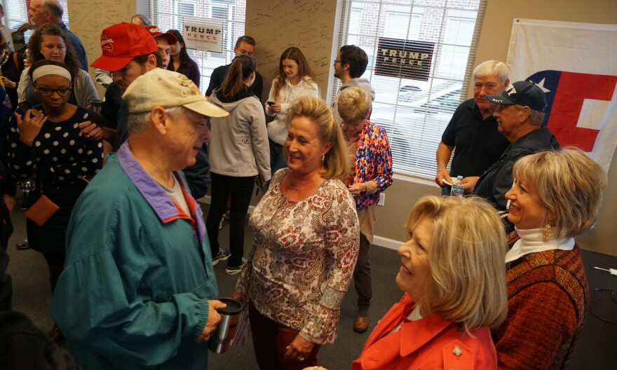 U.S. Rep. Ann Wagner, center, mingles with Republican supporters in south St. Louis County on Saturday, Oct. 13, 2018 before they headed out to canvass for her.