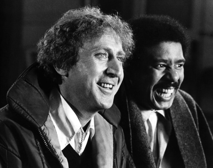American comic actor Gene Wilder (left) with comedian Richard Pryor in the 1970s. (Hulton Archive/Getty Images)
