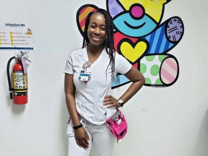 Herine Baron, an ER nurse with Jackson Health System, was diagnosed with Covid-19.