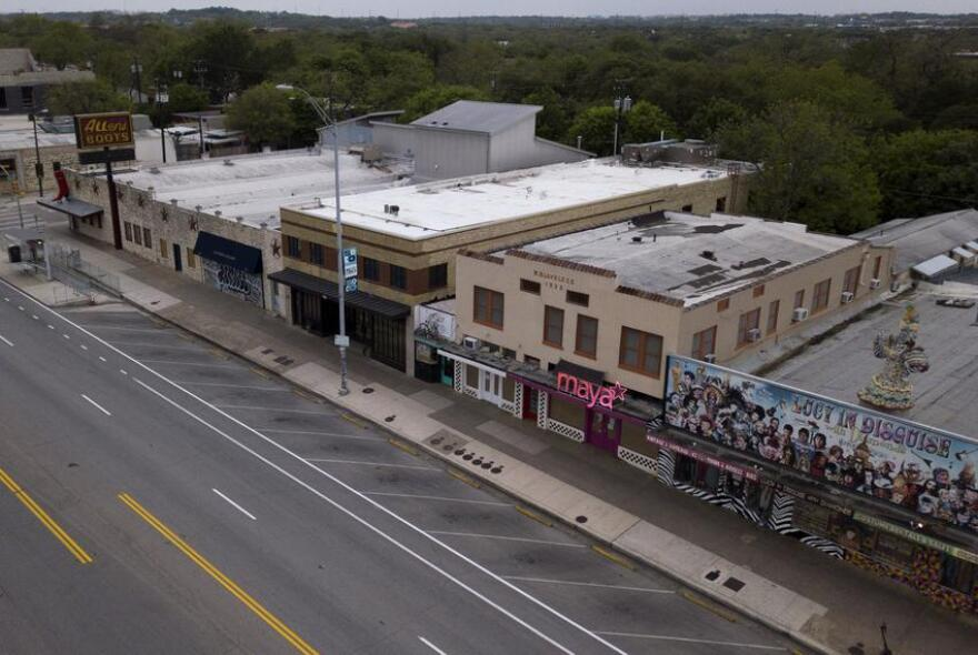 Shuttered businesses on South Congress in Austin during the coronavirus pandemic.