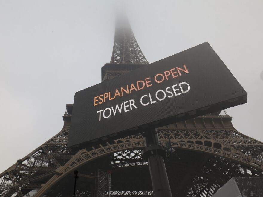 Wide social protests forced the Eiffel Tower to be closed in Paris on Thursday, as demonstrators mounted a strike against the government's plans for a pension system that critics say will force millions of people to work longer.