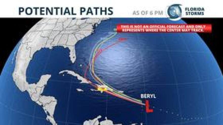 The remnants of Tropical Storm Beryl are expected to move close to The Bahamas by Wednesday.