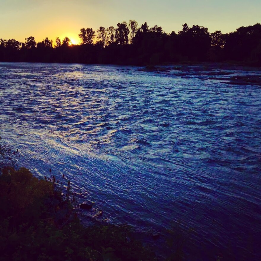 The Willamette River at dusk.