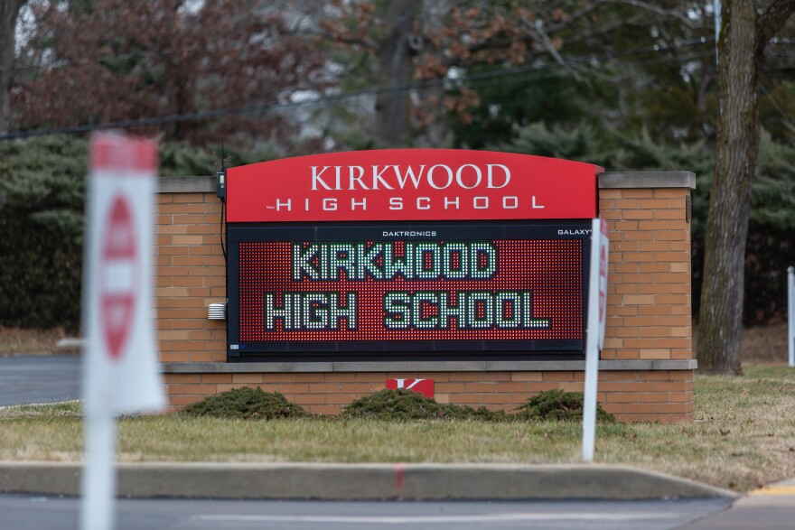 Kirkwood High School's welcome sign, seen on Jan. 7, 2021.