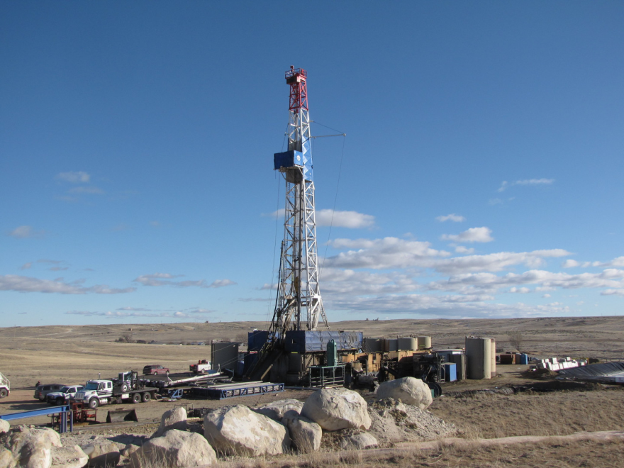 Photo of a drilling rig on Bureau of Land Management lands in Wyoming.