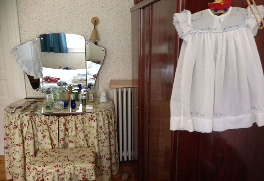 A room in Denmark's Old Town Museum showing a typical bedroom from the 1950s.