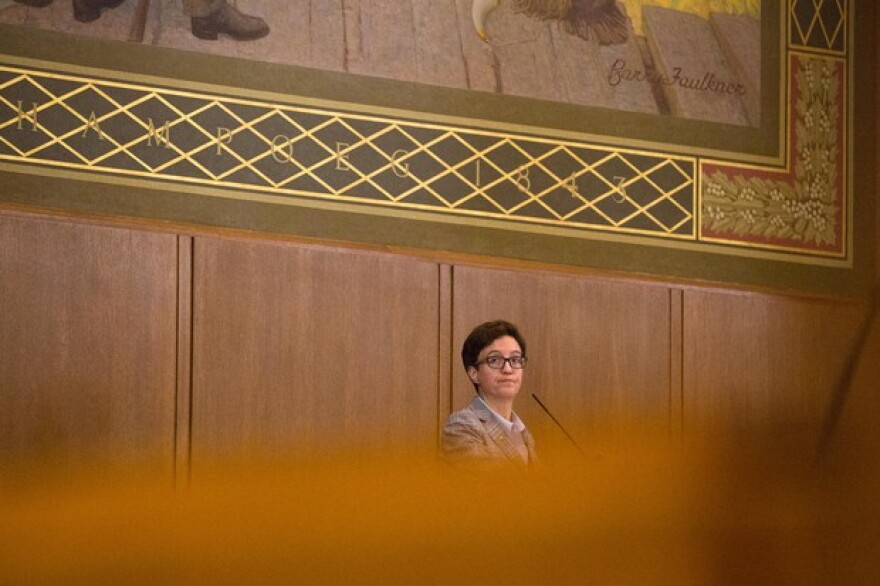 <p>Speaker of the House Tina Kotek, D-Portland, watches a vote from the dais in the House chamber at the Captiol in Salem, Ore., Thursday, April 11, 2019.</p>