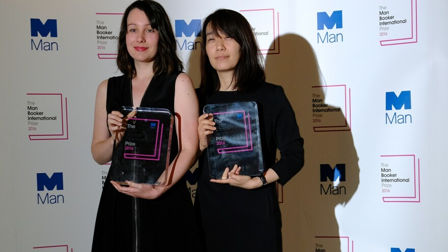 Winner of the 2016 Man Booker International Prize for fiction Han Kang, right, and her translator who shares the prize, Deborah Smith, following the award ceremony in London. They received the award for the novel, <em>The Vegetarian</em>.