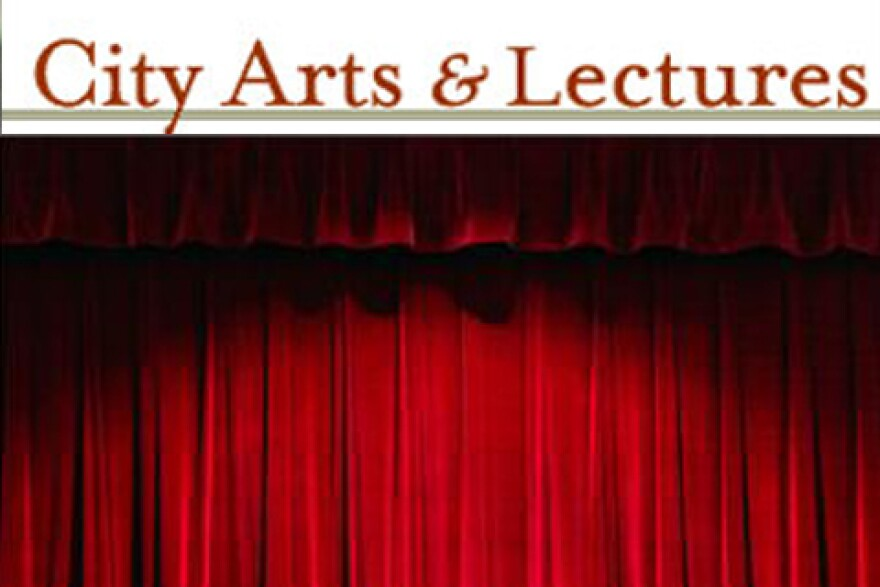 City Arts and Lectures logo and a stage