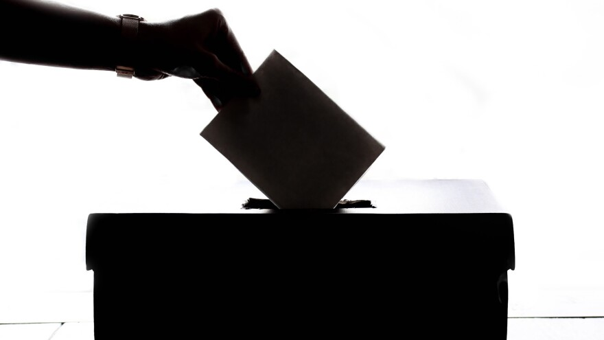 Shadow Image of hand dropping vote in ballot box