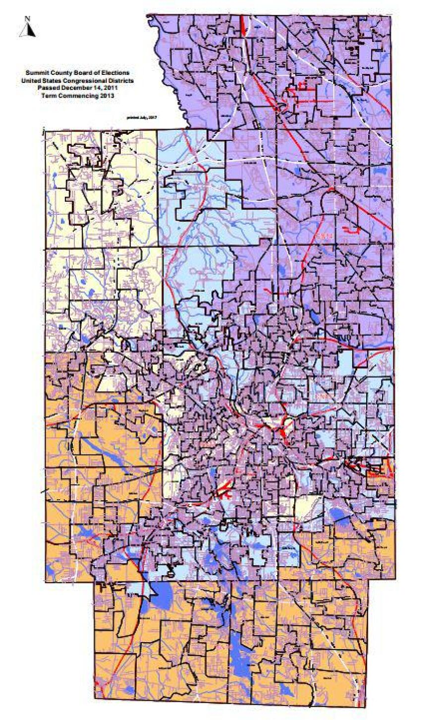 The shades of Summit County's four Congressional Districts. It and Cuyahoga County are the most divided counties in the state.