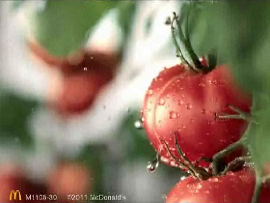 Tomatoes getting a splash of water reinforces the notion that McDonald's food is wholesome in China, as seen in this video screengrab.