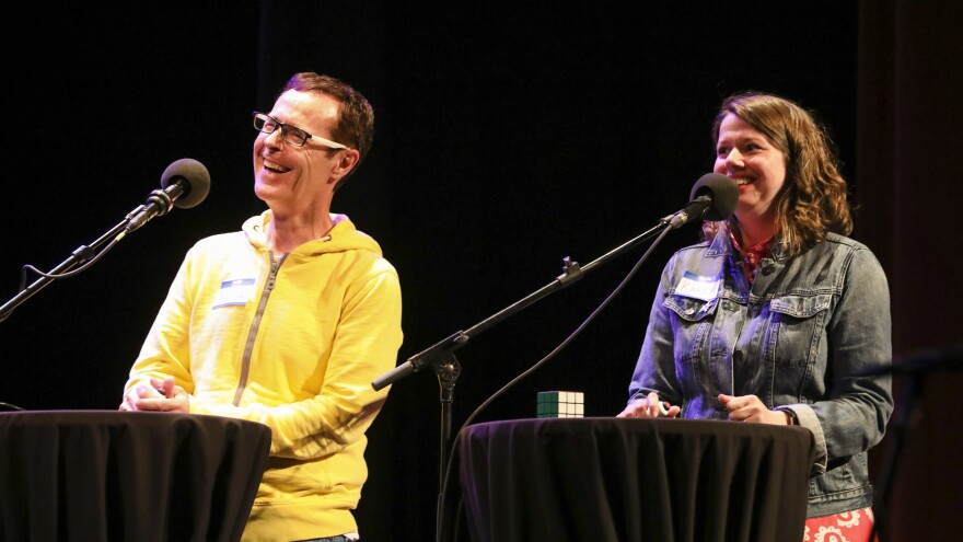Contestants Bruce Ryan and Karen Secrest appear on Ask Me Another at the Moore Theatre, in Seattle, Washington.