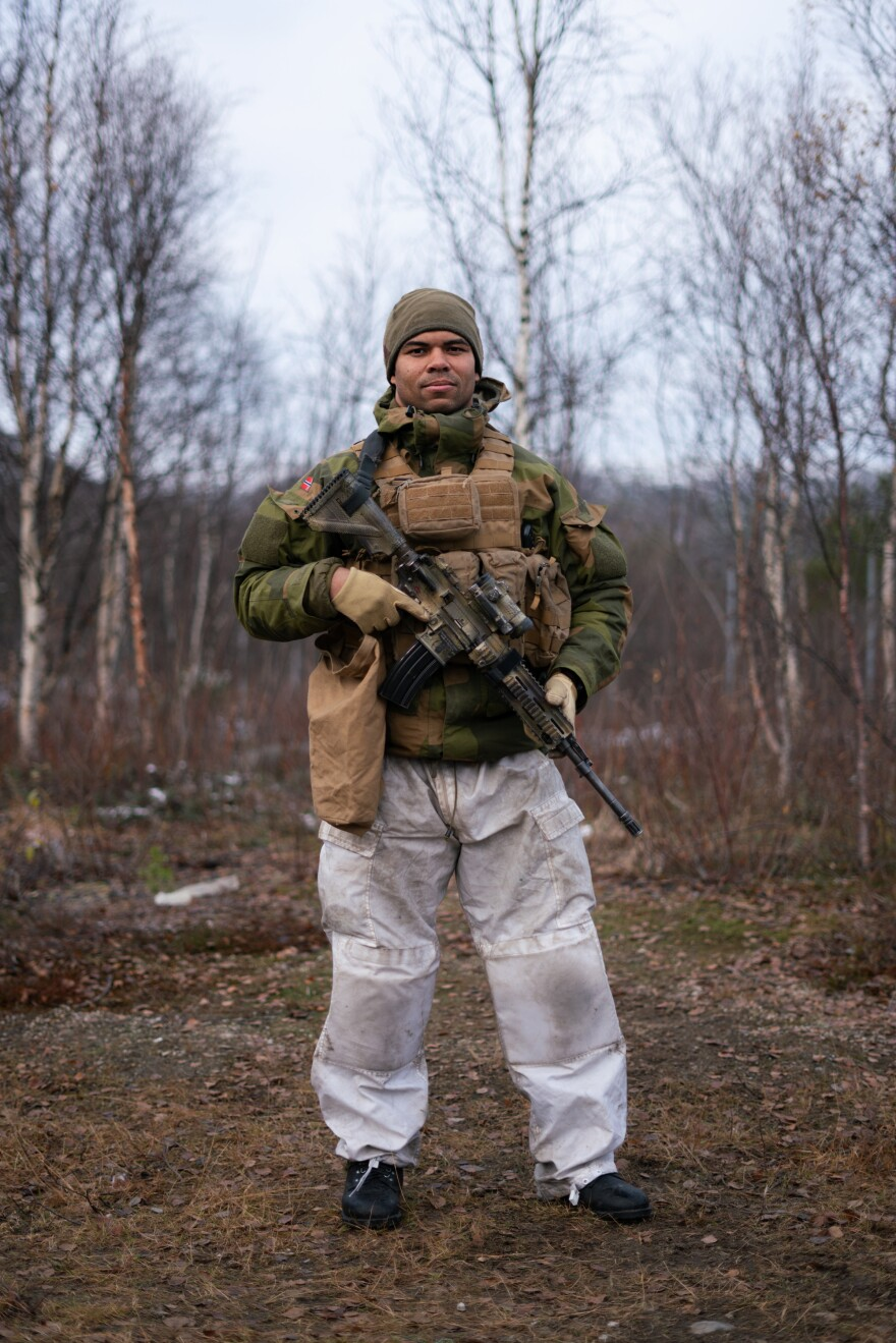 "Platoon Commander Lt. Benjamin Thompson at Norway's military base. ""Fighting during winter conditions is probably the hardest you can do,"" he said."