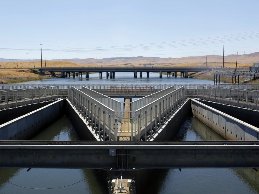 Diversion facilities like this one help protect endangered fish in California. Environmentalists say such protections would be weakened under a Trump administration plan to send more water to the state's farmers.
